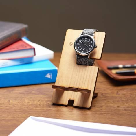 木製の時計&スマホスタンド