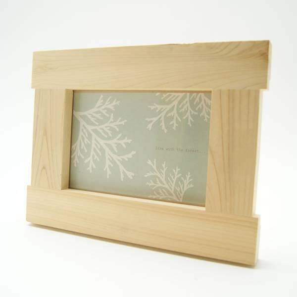 2L版木製フォトフレームの外観(横置き)